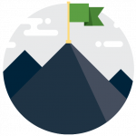 Concept icon of success with a mountain with a flag on top